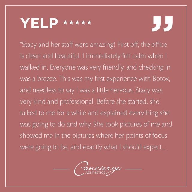 🌟 ❤️ Thank you TB for your very detailed and heartfelt review.  Nothing makes us happier than to hear a patient love their experience.  We're so blessed to have such beautiful patients inside and out!  Thank you for taking the time to leave a review.  We look forward to seeing you in the future! ❤️  . Leave Concierge Aesthetics with confidence and peace of mind that your results will be natural and gorgeous.  . We can help you reach your beauty goals! To discover what makes us one of the top medical aesthetics practices in Orange County, contact us today for a consultation. . ☎️ (949) 910-1609 📧 info@ca-oc.com 💻 www.ca-oc.com 🌎 Irvine, California, USA . #beautiful #loveconciergeaesthetics #bestmedspaoc #irvine #orangecounty #skincare #skin #oc #medical #healthbeauty #bestmedspa  #antiaging #conciergeaesthetics #juvederm #filler #dermalfiller #naturalresults #botox